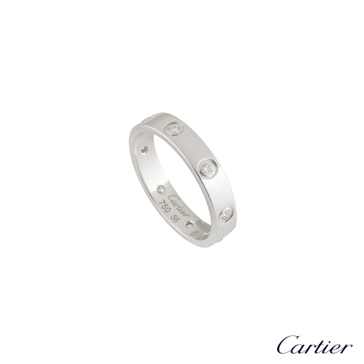 Cartier Full Diamond Love Wedding Band Size 56 B4050656